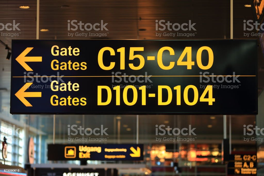 Signs with gates numbers stock photo