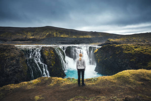 sigoldufoss in iceland - borchee stock pictures, royalty-free photos & images