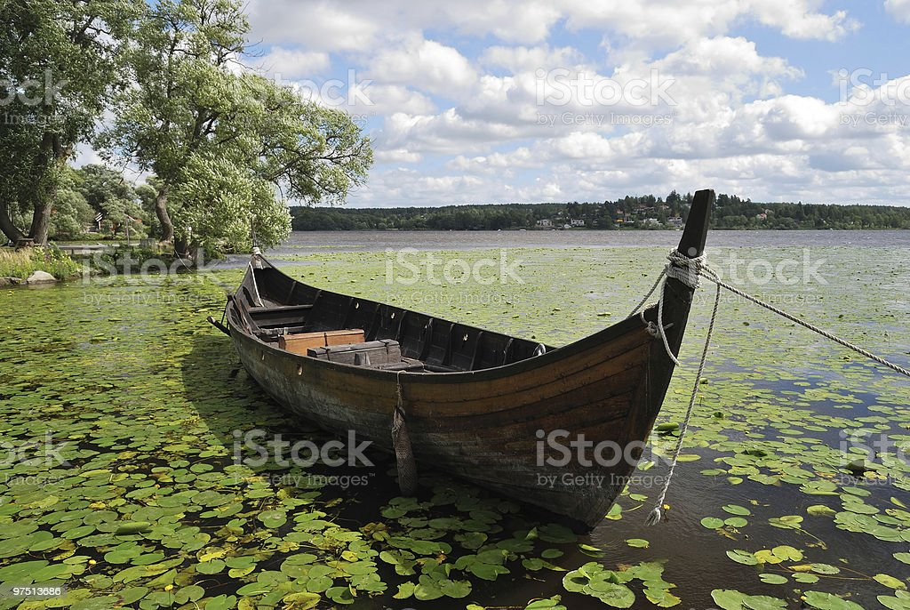 Sigtuna, Sweden. Antique boat royalty-free stock photo