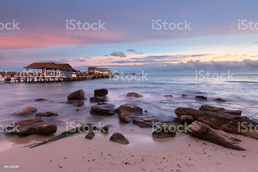 Sihanoukville beach at sunset stock photo