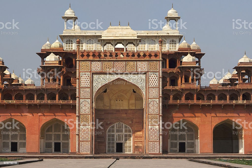 Sikandra Fort Gateway of Akbar's tomb stock photo