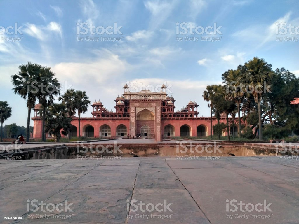 Sikandra grave tomb front view stock photo