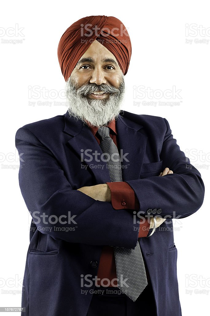 Sikh Businessman (Isolated on White) stock photo