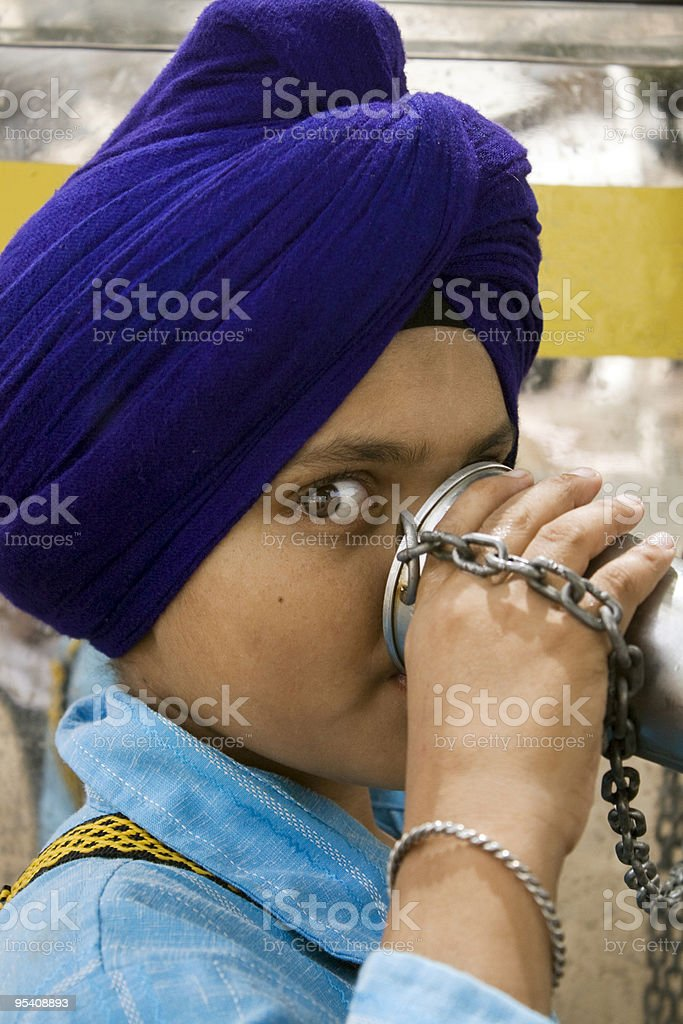 Sikh Child drinking water royalty-free stock photo