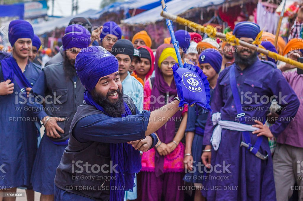 Sikh Devotees on the day of Hola Mohalla festival, Anandpur stock photo