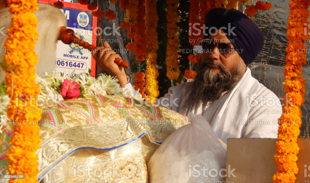 Sikh Man on float with Guru Granth Sahib,holy scripture,in Nagar Keertan procession,on Guru Nanak birthday stock photo