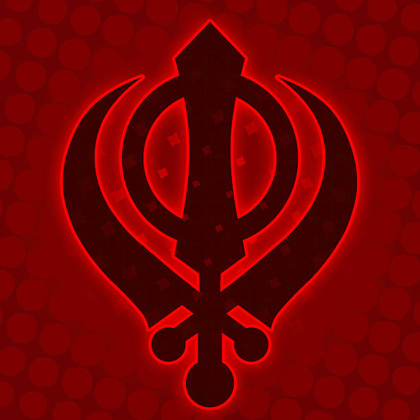 Sikh Symbol Red Halftone Background Stock Photo More Pictures Of