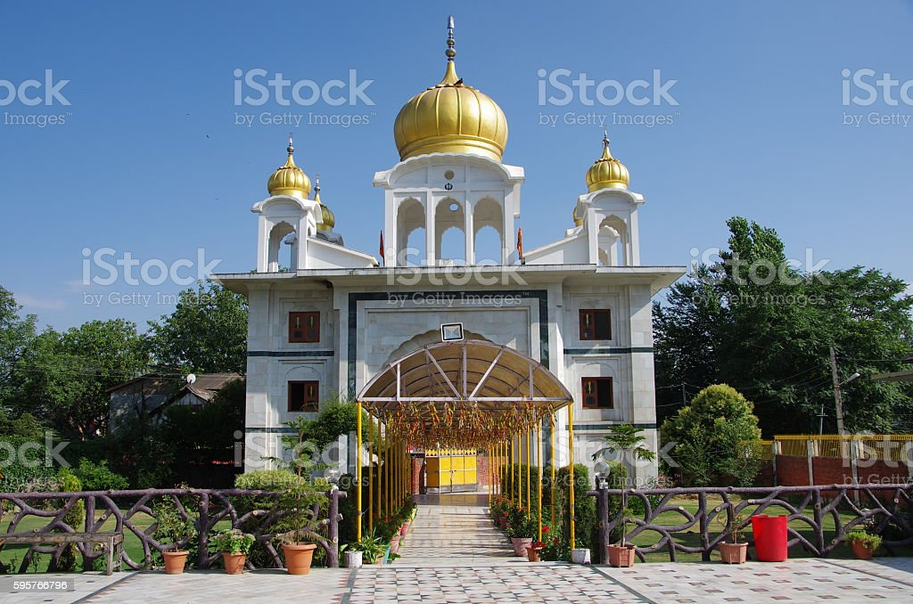 Sikh temple in Srinagar, India stock photo