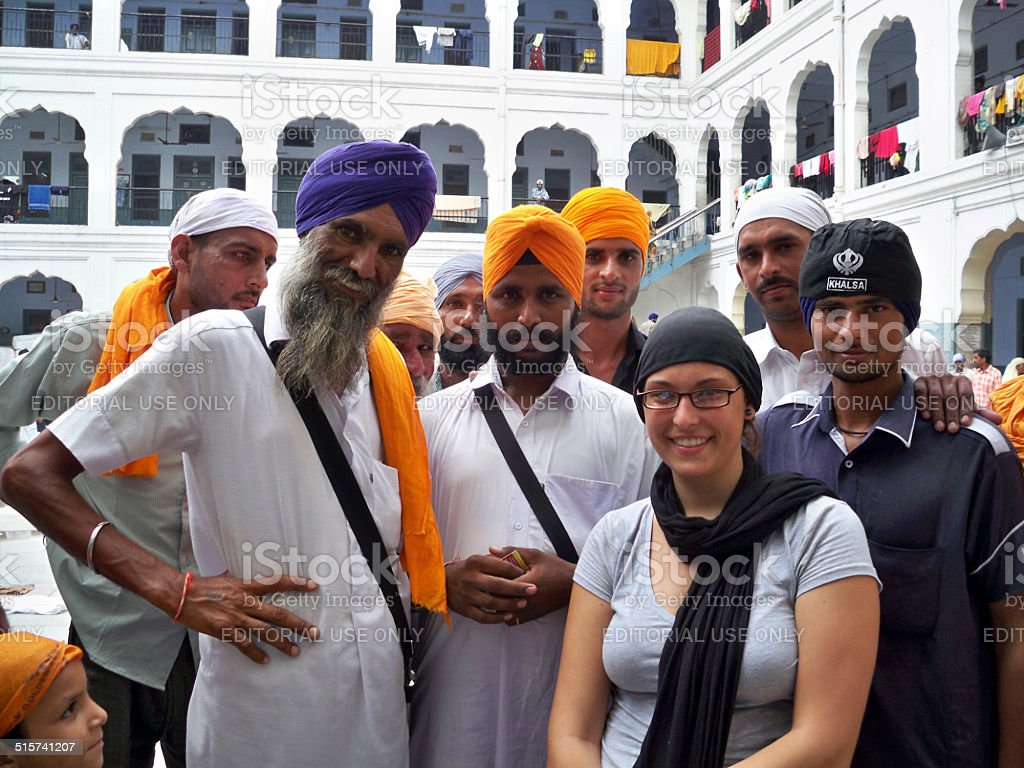 Sikhs at the Golden Temple in Amritsar, India stock photo