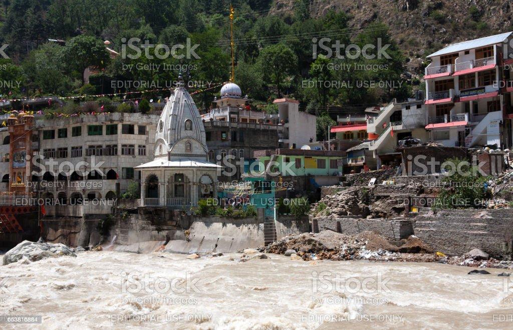 Sikhs Gurdwara, bridge over Parvati river and hot springs in Manikaran stock photo