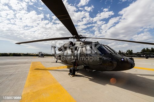 UH-60 Sikorsky Black Hawk military helicopter on heliport