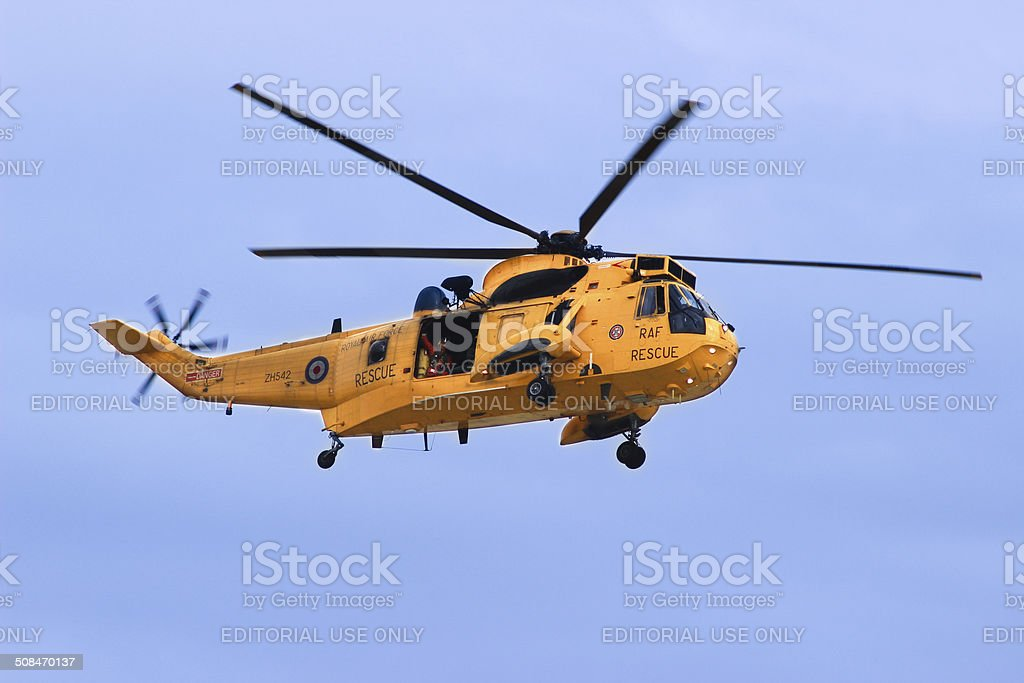 RAF Sikorsky Sea King Rescue helicopter in action royalty-free stock photo