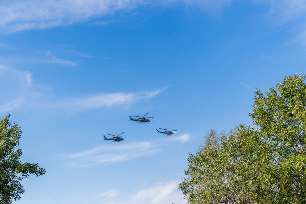SH Sikorsky Seahawk & Agusta Bell AB-212 frigate Anti Submarine Warfare helicopters at military parade stock photo