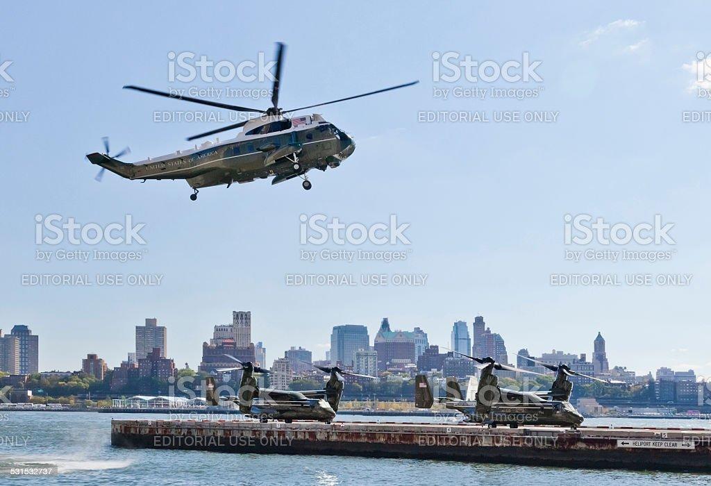 NEW YORK CITY, USA, Sikorsky VH-3D and MV-22 Osprey stock photo
