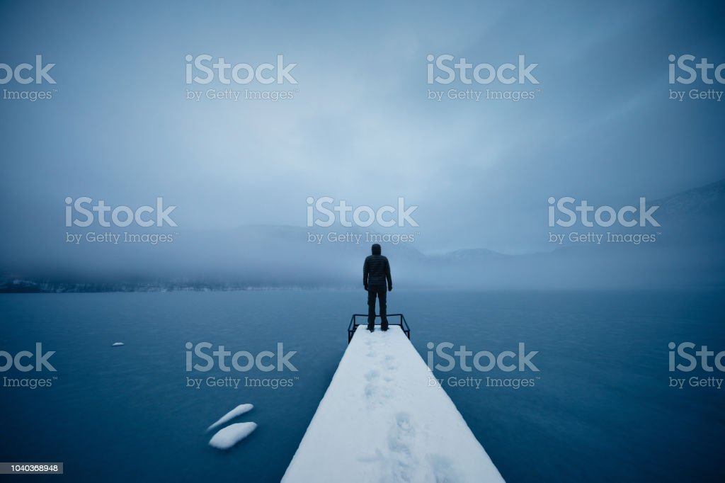 Silence By The Frozen Lake stock photo