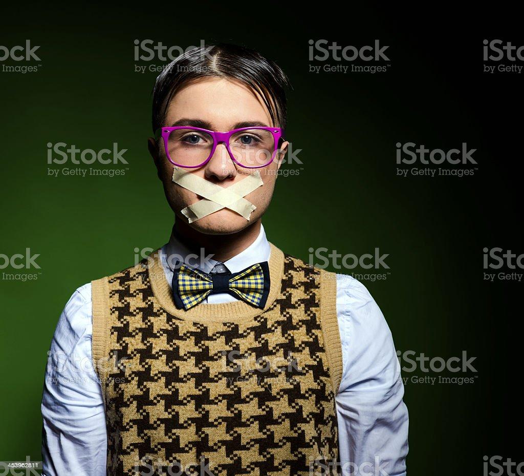 silence nerd stock photo
