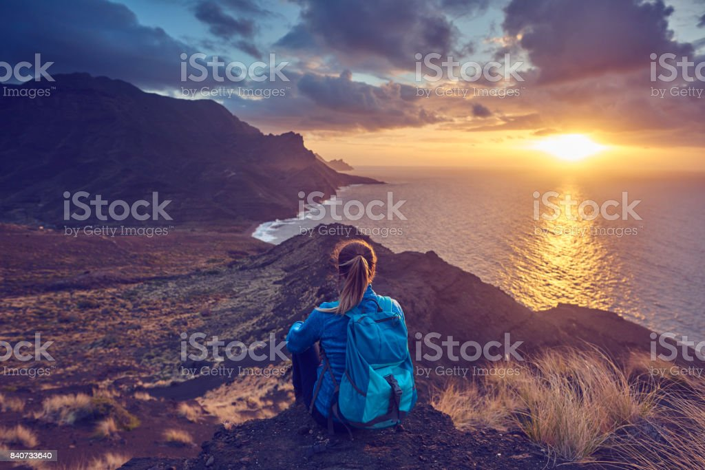 silence on top of the mountains stock photo