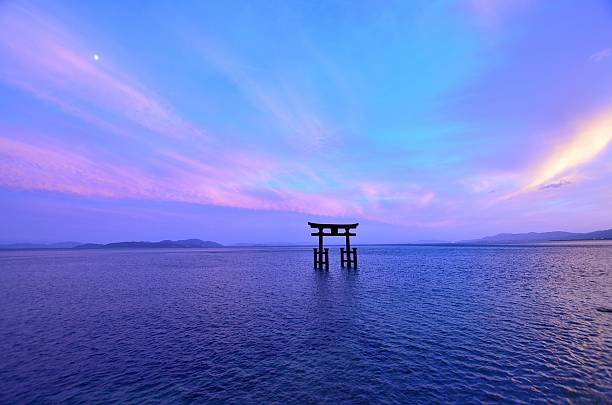 Silence Torii floating in Lake Biwa shrine stock pictures, royalty-free photos & images