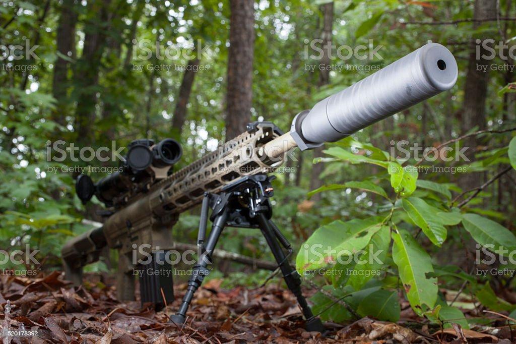 Silenced gun stock photo