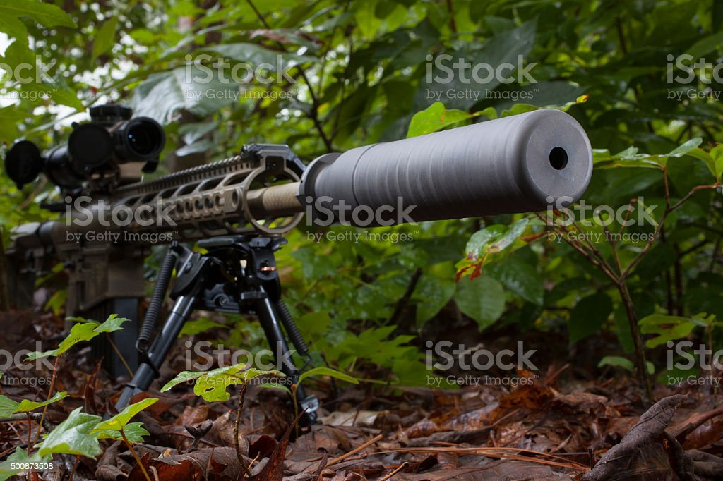 Silenced weapon Camoflauge modern sporting rifle with a silencer on the barrel 2015 Stock Photo