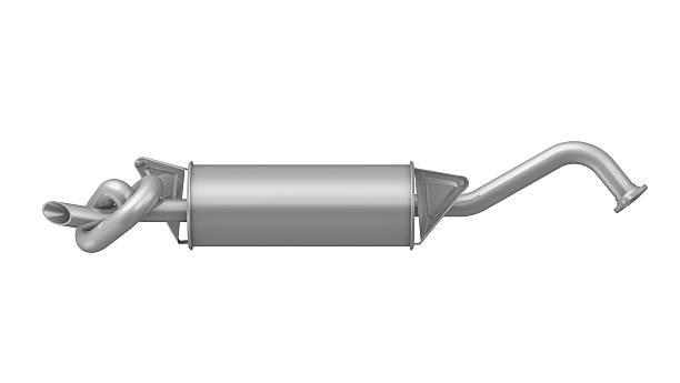 silenciador de gases de escape do carro preso em um nó - exhaust white background imagens e fotografias de stock