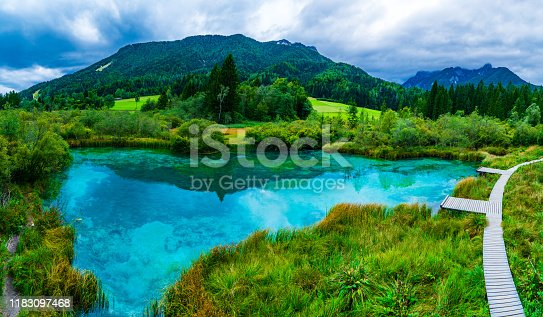 Crystal clear Lake Zelenci in cloudy morning. Slovenian mountains.