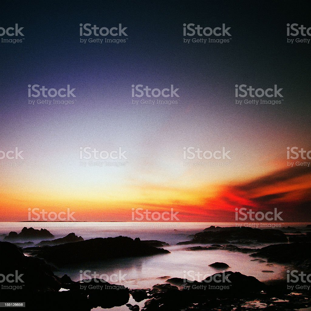 Silent ocean with sunset stock photo