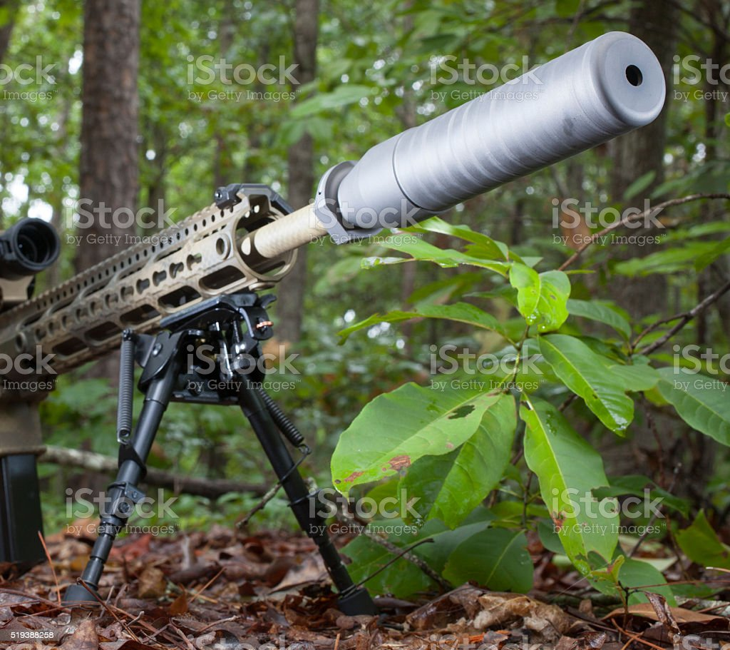 Silent rifle stock photo