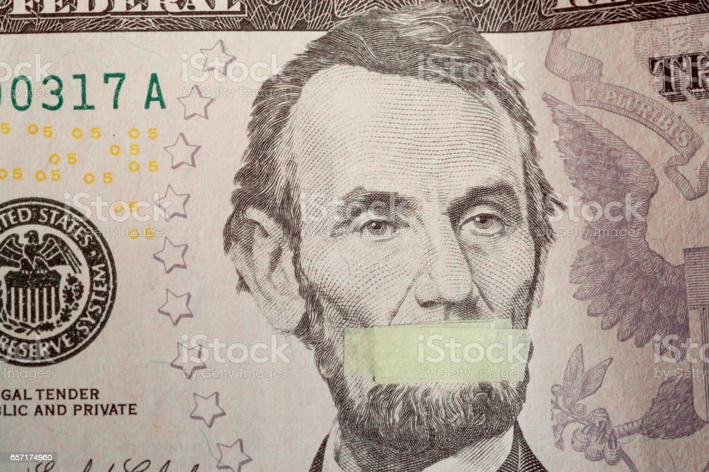 Silente president, portrait of the American leader Abraham Lincoln with mouth closed stock photo