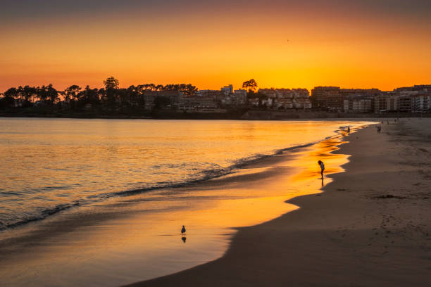 Silgar beach at golden dusk stock photo
