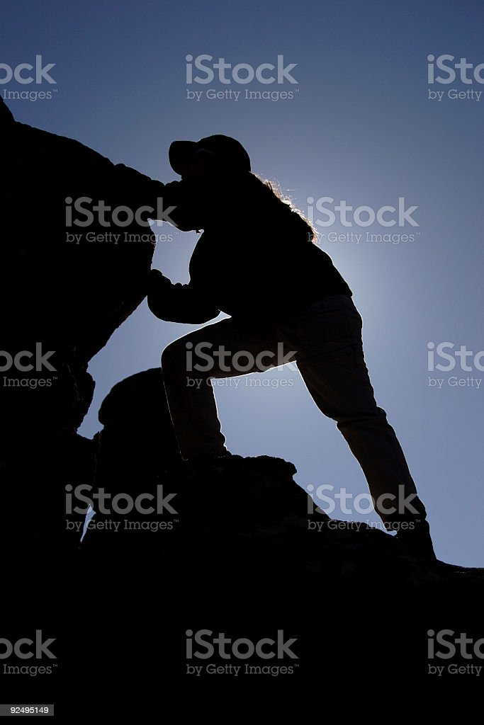 Silhouette a Rock Climber royalty-free stock photo