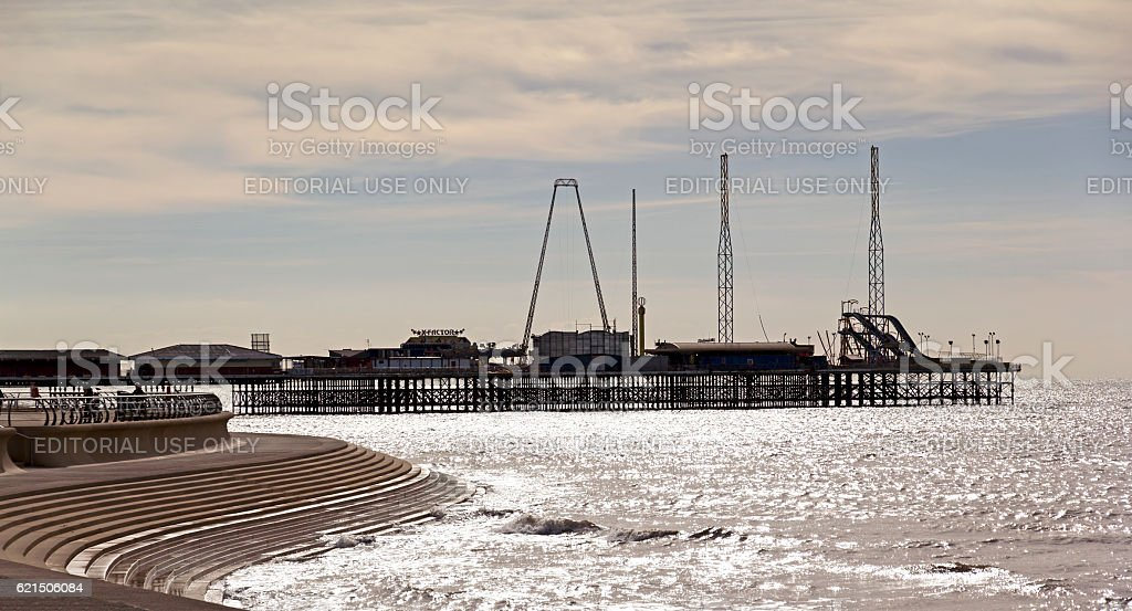 Silhouette contre Blackpool Promenade photo libre de droits