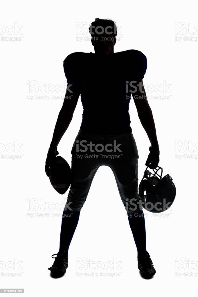 silhouette of a football player outline pictures, images and stock
