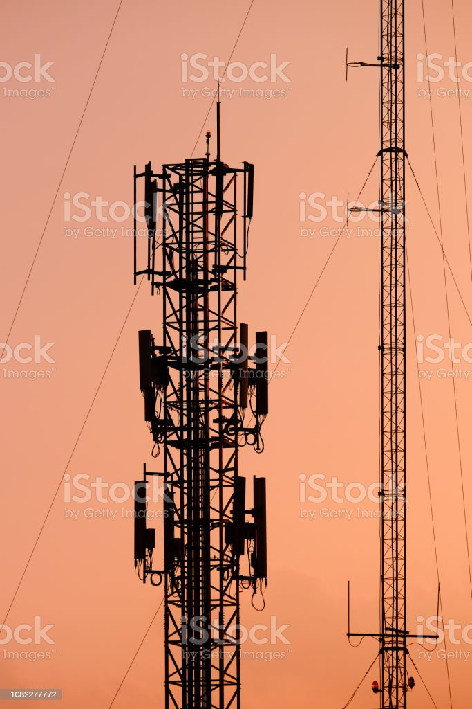 Silhouette Antenna tower and repeater of Communication and...