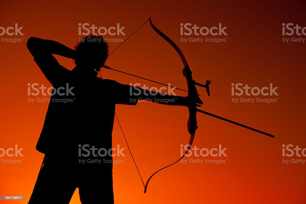 archers silhouette stock photo
