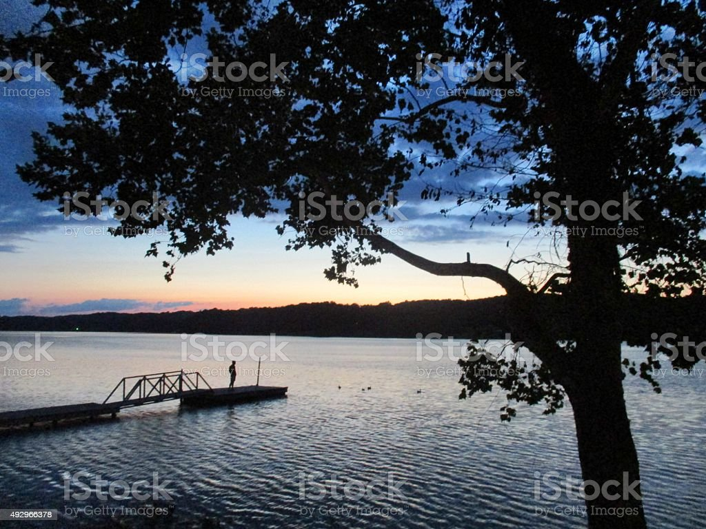 Silhouette at a Lake During the Summer stock photo