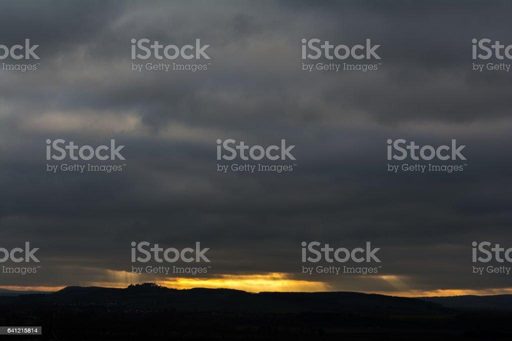 Silhouette bei Sonnenuntergang stock photo