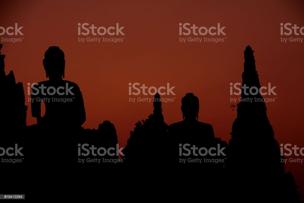 silhouette buddha in historical park ,Thailand stock photo