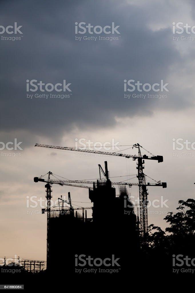 silhouette building stock photo