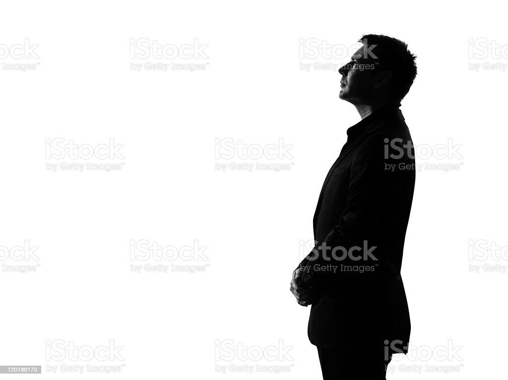 Silueta de hombre de negocios pensando perfil musing seria mirando hacia arriba foto de stock libre de derechos