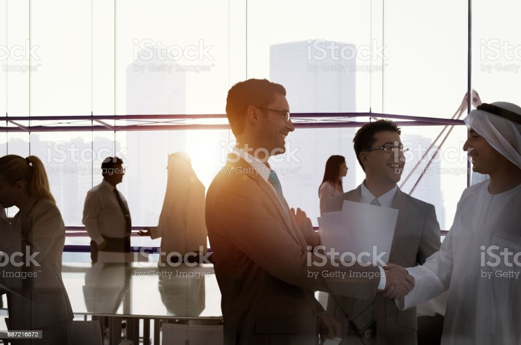 Silhouette Business People Discussion Meeting Cityscape Team Concept stock photo
