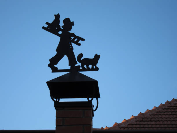 Silhouette chimney sweep with cat and stairs to flue pipe picture id640325324?b=1&k=6&m=640325324&s=612x612&w=0&h=dob7tybi6z9upmp4vdctoecpcllpvxnl2 9udth5efk=