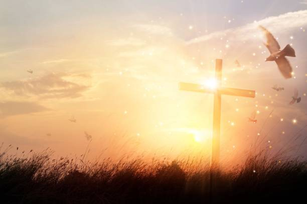 silhouette christian cross on grass at sunrise background with miracle bright lighting, religion and worship concept - religion stock pictures, royalty-free photos & images