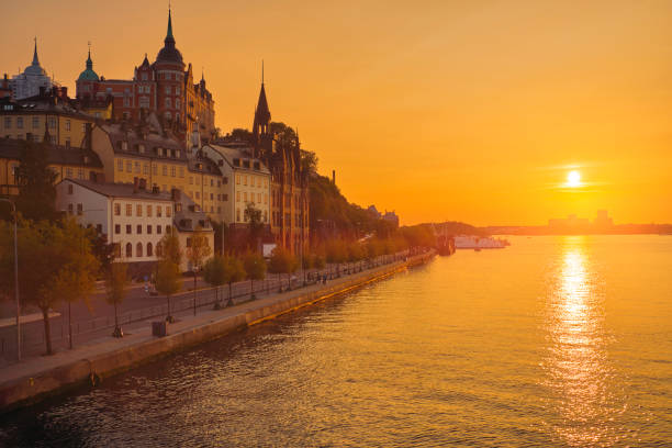 silhouette cityscape of Stockholm, Sweden stock photo