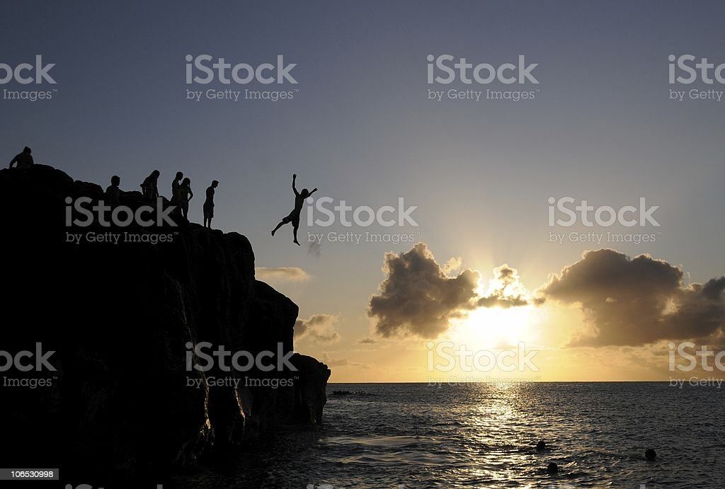 Silhouette Cliff Jump royalty-free stock photo