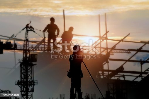 istock Silhouette construction site  and sunset background. 859285468