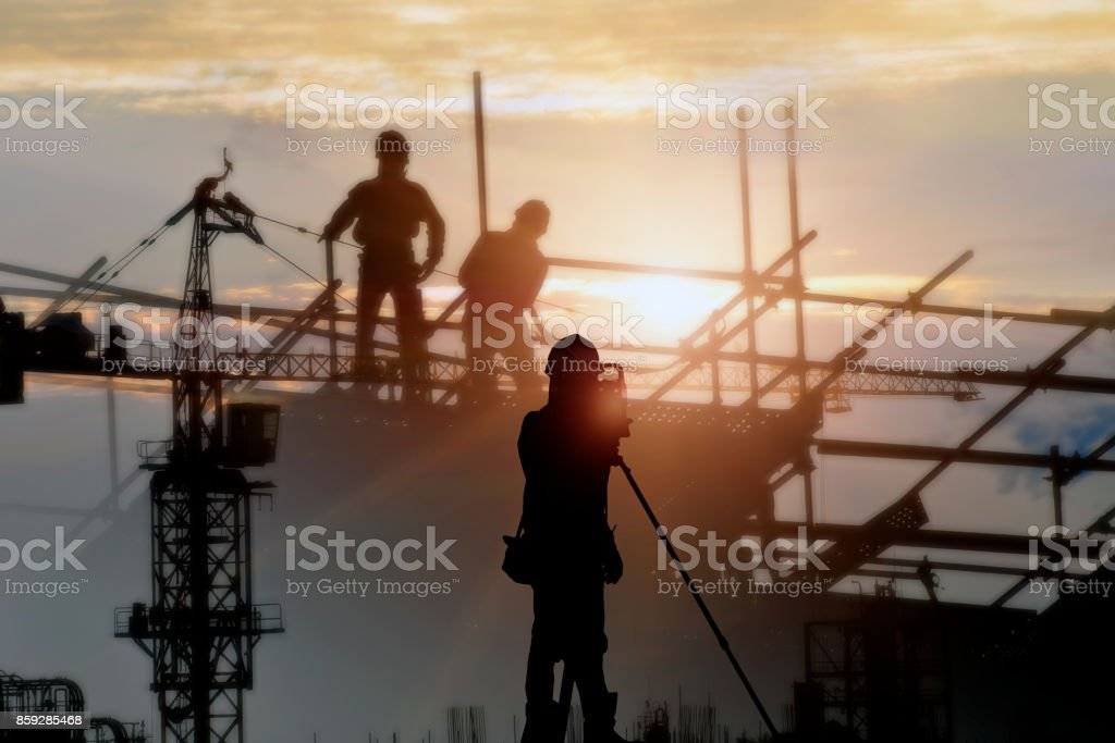 Silhouette construction site  and sunset background. stock photo