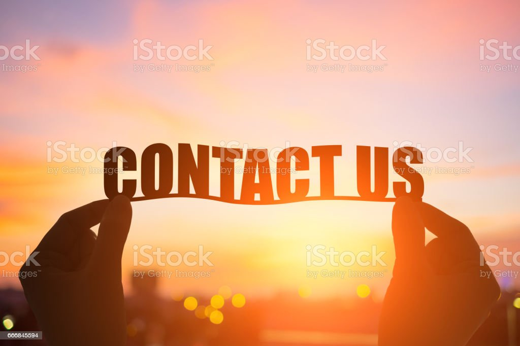 silhouette contact us word stock photo