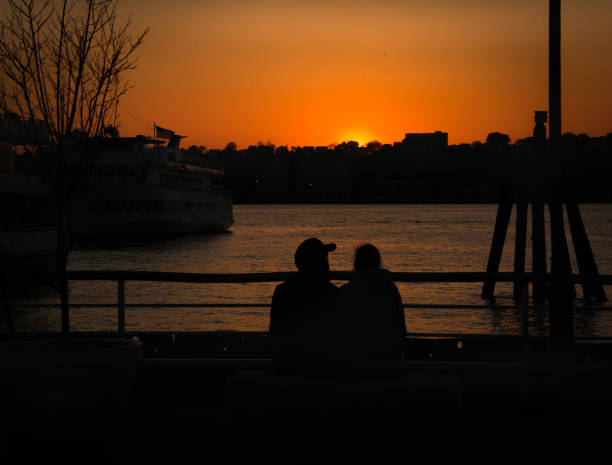 Silhouette Couple on the Hudson stock photo