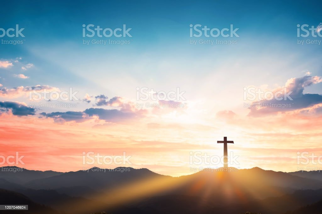 Silhouette Cross On Mountain Sunset Background Stock Photo Download Image Now Istock